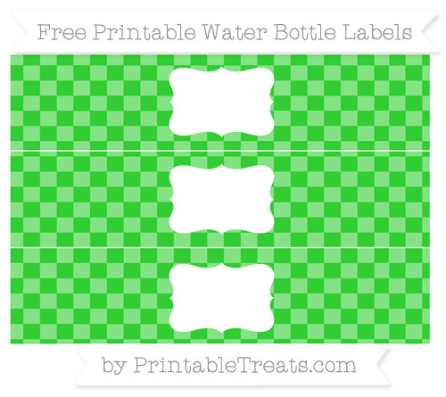 Free Lime Green Checker Pattern Water Bottle Labels