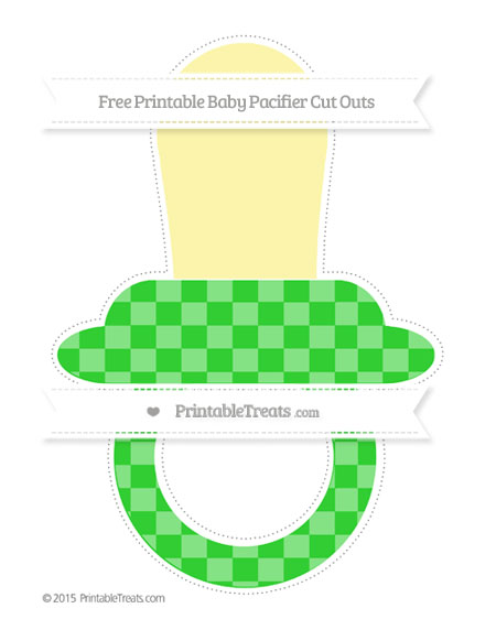 Free Lime Green Checker Pattern Extra Large Baby Pacifier Cut Outs