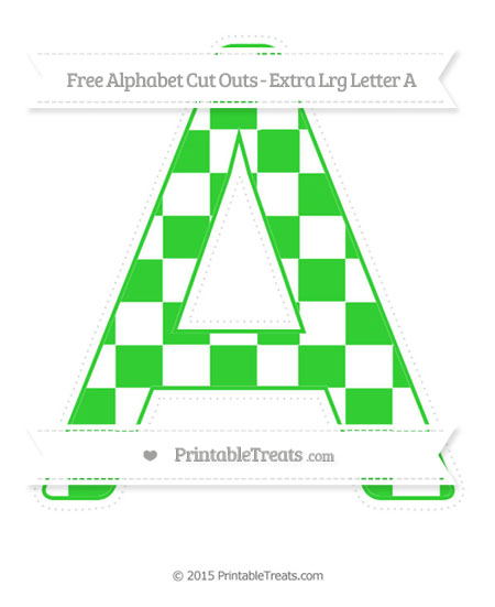Free Lime Green Checker Pattern Extra Large Capital Letter A Cut Outs