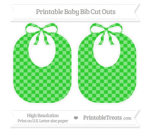 Free Lime Green Checker Pattern Large Baby Bib Cut Outs