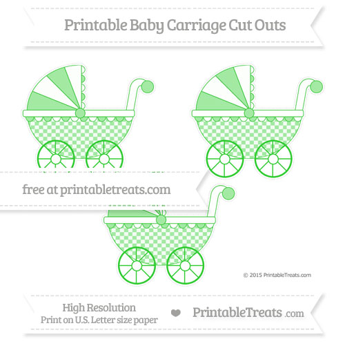 Free Lime Green Checker Pattern Medium Baby Carriage Cut Outs