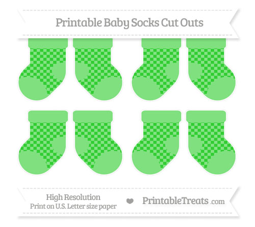 Free Lime Green Checker Pattern Small Baby Socks Cut Outs