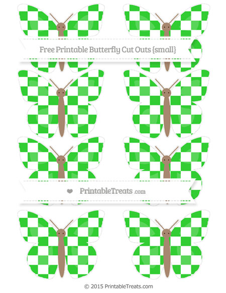 Free Lime Green Checker Pattern Small Butterfly Cut Outs