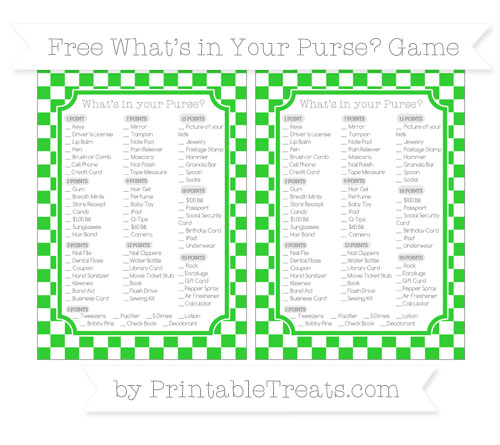 Free Lime Green Checker Pattern What's in Your Purse Baby Shower Game