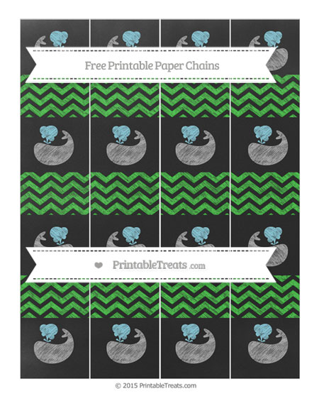 Free Lime Green Chevron Chalk Style Whale Paper Chains