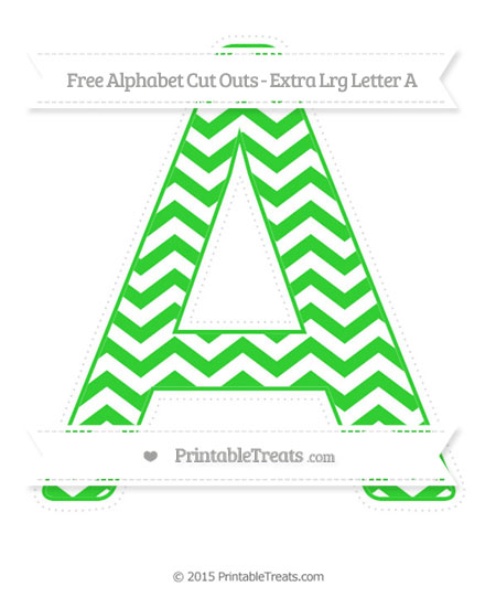 Free Lime Green Chevron Extra Large Capital Letter A Cut Outs