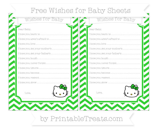 Free Lime Green Chevron Hello Kitty Wishes for Baby Sheets
