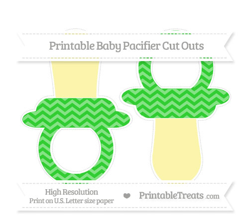 Free Lime Green Chevron Large Baby Pacifier Cut Outs
