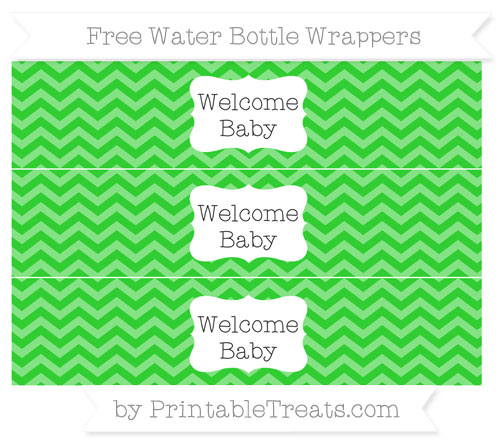 Free Lime Green Chevron Welcome Baby Water Bottle Wrappers