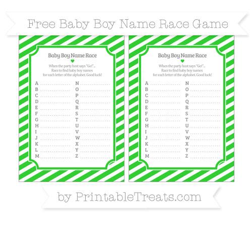 Free Lime Green Diagonal Striped Baby Boy Name Race Game