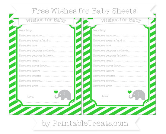 Free Lime Green Diagonal Striped Baby Elephant Wishes for Baby Sheets