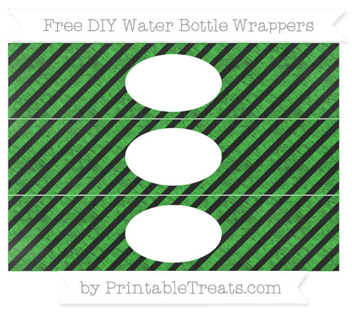 Free Lime Green Diagonal Striped Chalk Style DIY Water Bottle Wrappers
