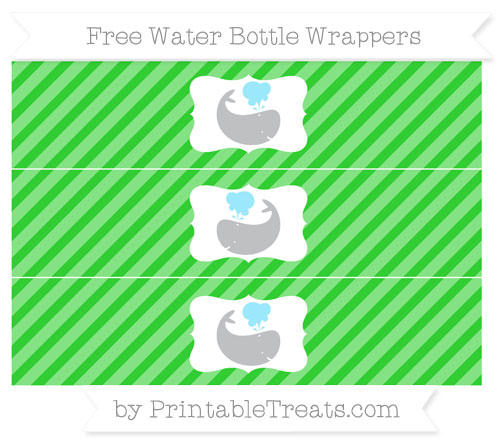 Free Lime Green Diagonal Striped Whale Water Bottle Wrappers