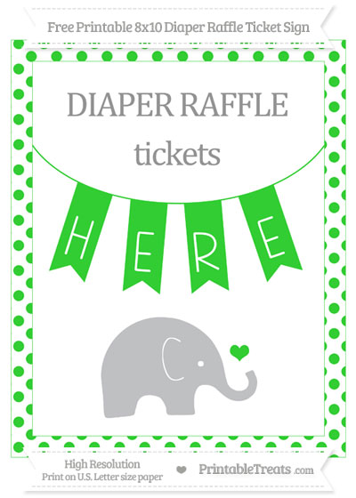 Free Lime Green Dotted Baby Elephant 8x10 Diaper Raffle Ticket Sign