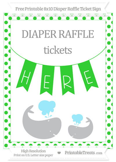 Free Lime Green Dotted Baby Whale 8x10 Diaper Raffle Ticket Sign