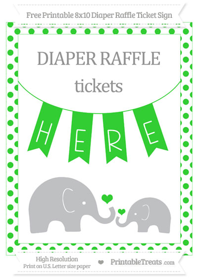 Free Lime Green Dotted Elephant 8x10 Diaper Raffle Ticket Sign