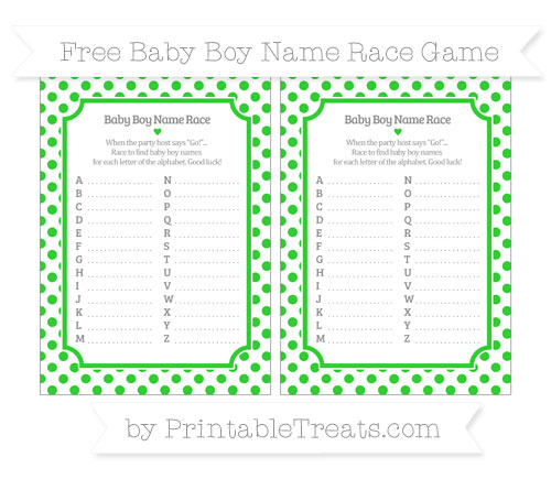 Free Lime Green Dotted Pattern Baby Boy Name Race Game