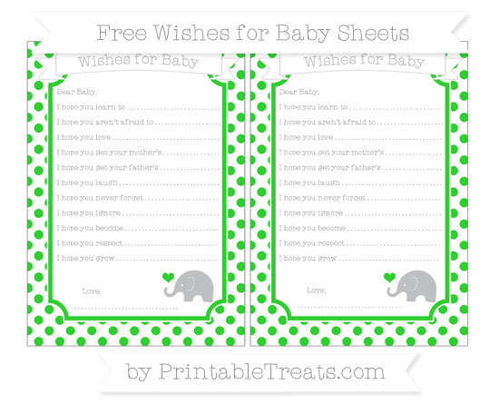 Free Lime Green Dotted Pattern Baby Elephant Wishes for Baby Sheets