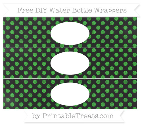 Free Lime Green Dotted Pattern Chalk Style DIY Water Bottle Wrappers
