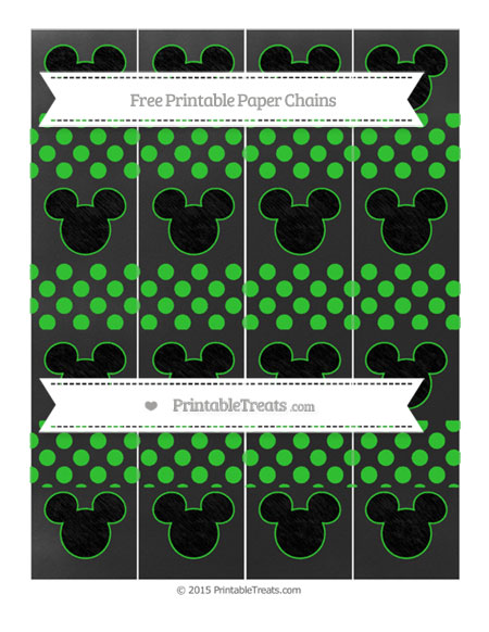 Free Lime Green Dotted Pattern Chalk Style Mickey Mouse Paper Chains