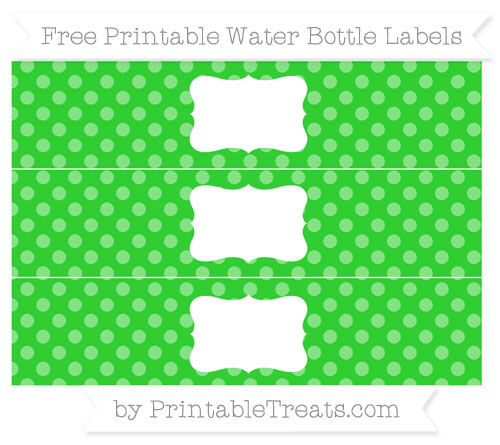 Free Lime Green Dotted Pattern Water Bottle Labels