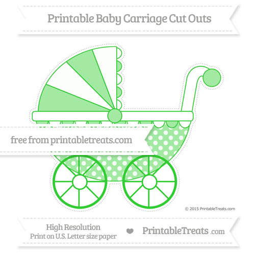 Free Lime Green Dotted Pattern Extra Large Baby Carriage Cut Outs