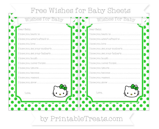 Free Lime Green Dotted Pattern Hello Kitty Wishes for Baby Sheets