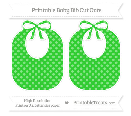 Free Lime Green Dotted Pattern Large Baby Bib Cut Outs