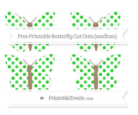 Free Lime Green Dotted Pattern Medium Butterfly Cut Outs