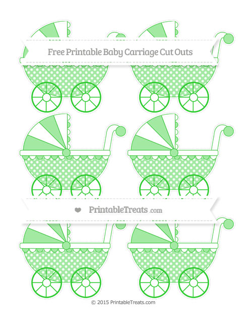 Free Lime Green Dotted Pattern Small Baby Carriage Cut Outs