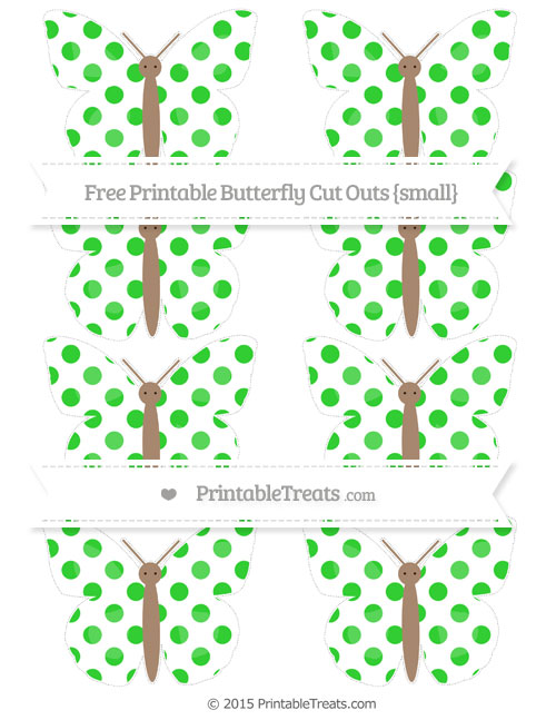 Free Lime Green Dotted Pattern Small Butterfly Cut Outs