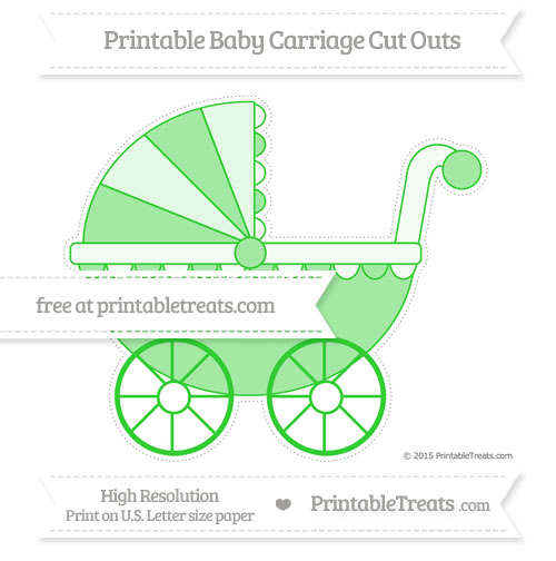 Free Lime Green Extra Large Baby Carriage Cut Outs