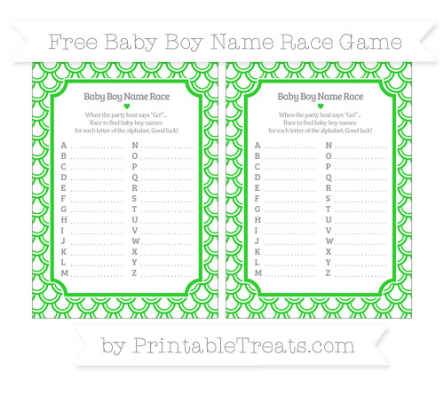 Free Lime Green Fish Scale Pattern Baby Boy Name Race Game