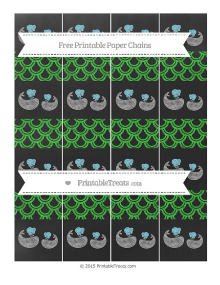 Free Lime Green Fish Scale Pattern Chalk Style Baby Whale Paper Chains
