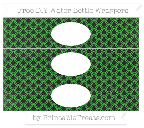 Free Lime Green Fish Scale Pattern Chalk Style DIY Water Bottle Wrappers