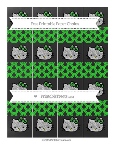 Free Lime Green Fish Scale Pattern Chalk Style Hello Kitty Paper Chains
