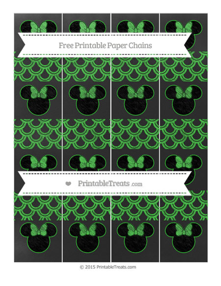 Free Lime Green Fish Scale Pattern Chalk Style Minnie Mouse Paper Chains