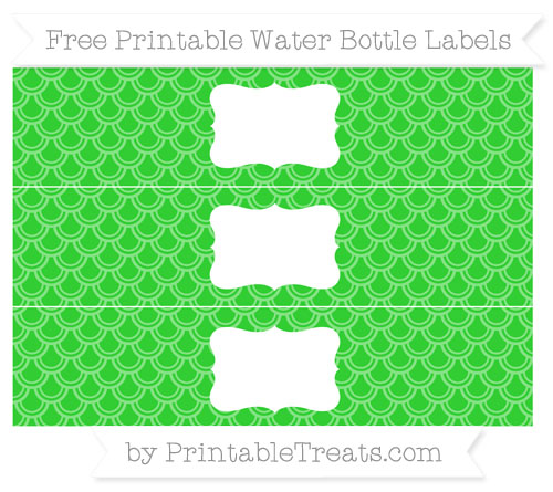 Free Lime Green Fish Scale Pattern Water Bottle Labels