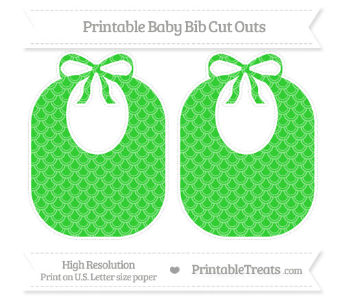 Free Lime Green Fish Scale Pattern Large Baby Bib Cut Outs