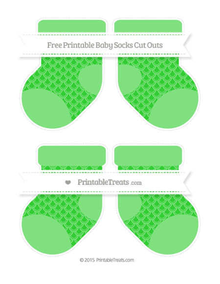 Free Lime Green Fish Scale Pattern Medium Baby Socks Cut Outs