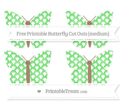 Free Lime Green Fish Scale Pattern Medium Butterfly Cut Outs