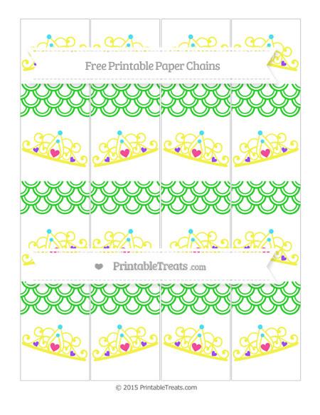 Free Lime Green Fish Scale Pattern Princess Tiara Paper Chains
