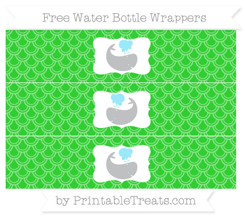 Free Lime Green Fish Scale Pattern Whale Water Bottle Wrappers