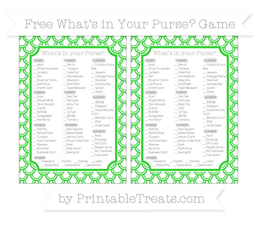 Free Lime Green Fish Scale Pattern What's in Your Purse Baby Shower Game