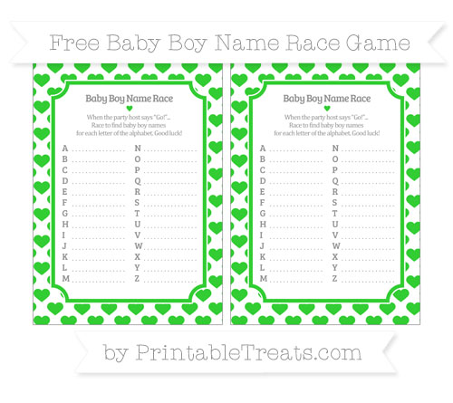 Free Lime Green Heart Pattern Baby Boy Name Race Game
