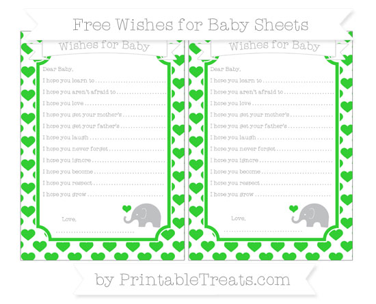 Free Lime Green Heart Pattern Baby Elephant Wishes for Baby Sheets