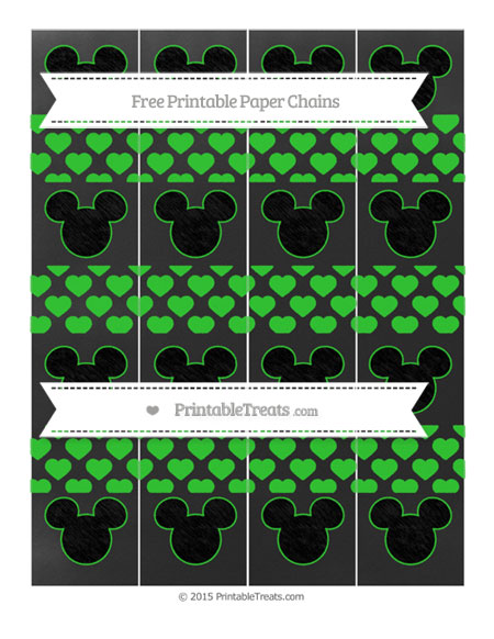Free Lime Green Heart Pattern Chalk Style Mickey Mouse Paper Chains
