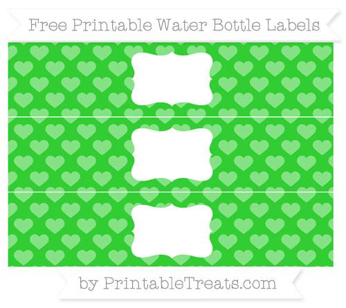 Free Lime Green Heart Pattern Water Bottle Labels