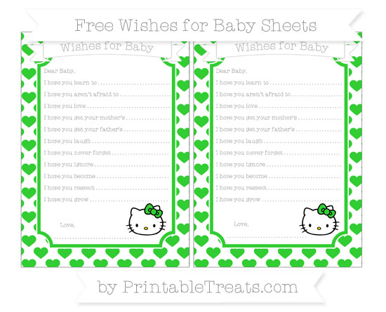 Free Lime Green Heart Pattern Hello Kitty Wishes for Baby Sheets
