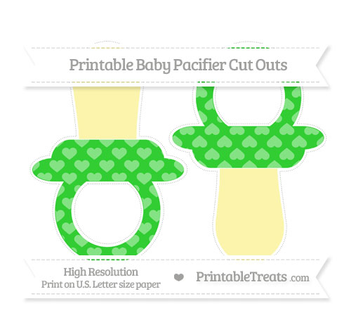Free Lime Green Heart Pattern Large Baby Pacifier Cut Outs
